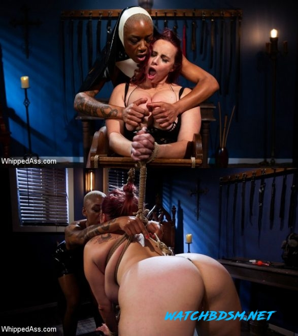 Ashley Paige, Bella Rossi - Lesbian Latex Blasphemy: Ashley Paige Whips the Sin Out Of Bella Rossi - HD - WHIPPED ASS