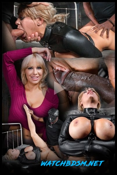 Big breasted Alyssa Lynn takes on two cocks while bound in a leather straightjacket - HD