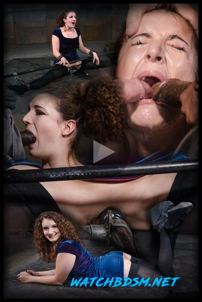Curly haired newbie Endza bound into the splits and facefucked by BBC, drooling orgasms - HD